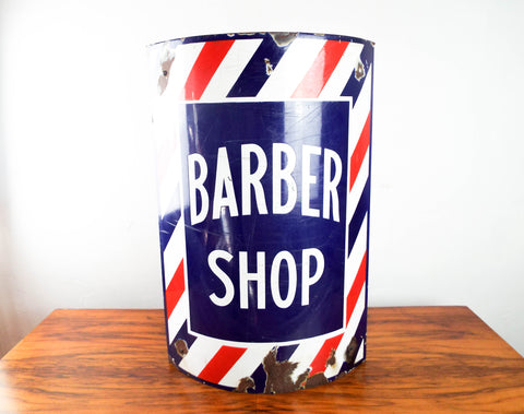 Vintage 1940s Advertising Enamel Barber Shop Corner Sign