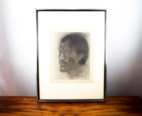 Vintage Signed Art Print  of Paul Robeson ~ By Edward Biberman