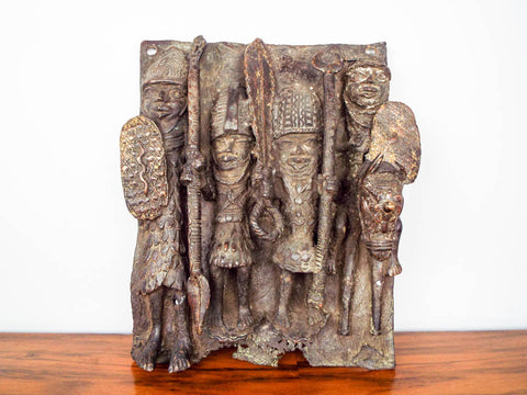 African Benin Cast Bronze Plaque Sculpture