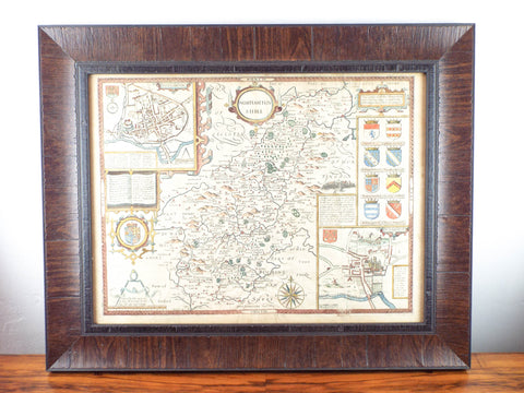 Framed Antique 17th C Hand Color Map Of Northamptonshire
