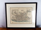 Victorian Framed Color Map Of Liverpool ~ T Starling ~ 1845