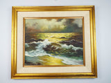Vintage Signed Seascape Oil on Canvas Painting