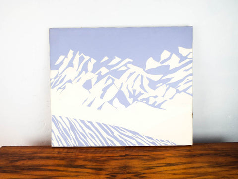 Mountain Abstract Art Ellin James 1970s Lilac Snowcapped Mountain California Art