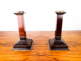 Antique British Arts & Crafts Wooden Candlesticks Brass Trim 1900 Square Gothic