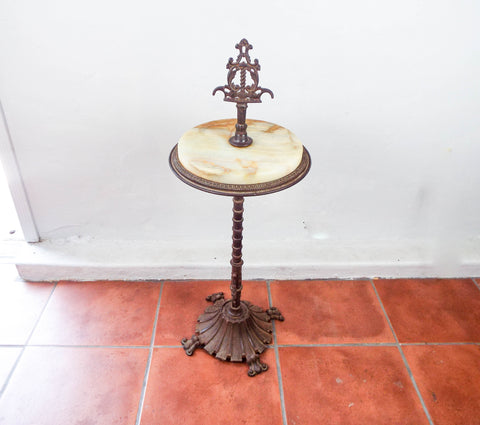 Antique Rembrandt Art Deco Iron & Marble Smoking Stand Side Table 1910 1920s Era