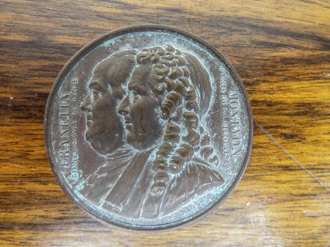 Antique French Bronze Benjamin Franklin Medal