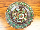 Antique Russian Arts & Crafts Majolica Charger Glazed Centerpiece Plate 1900s