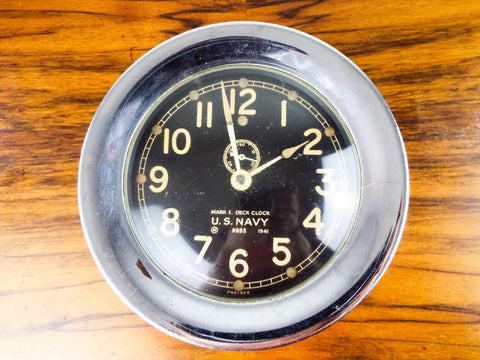 Vintage WWII 1941 Chelsea Mark I Deck Clock US Navy Military Wall WW2