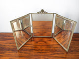 Antique Victorian Tri Fold Vanity Mirror