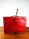 Antique 1901 L D Lothrop Wooden Red Box Fog Horn