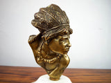 Antique 19th C Heavy Brass Sculpture ~ Native American Indian Head