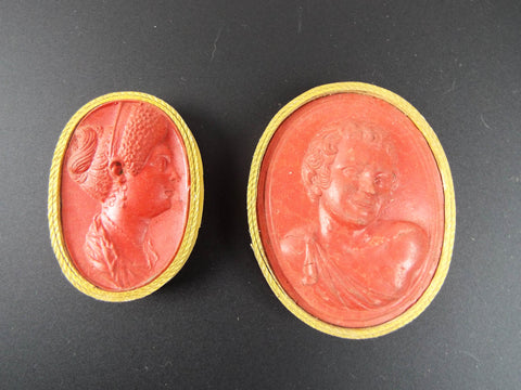 Antique 1800s Miniature Italian Wax Art Cameos