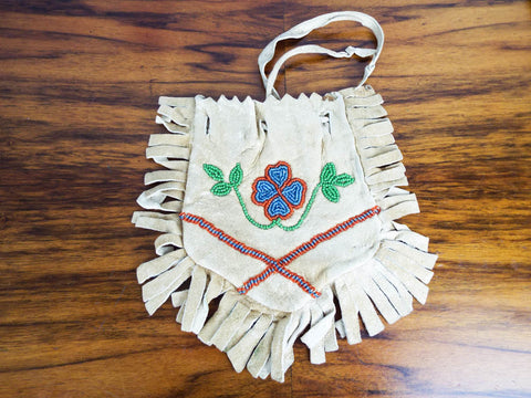 Vintage Western American Plains Indian Beaded Fringed Medicine Bag Satchel Purse