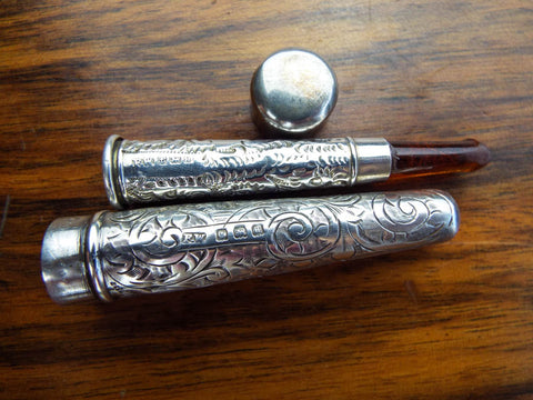 Antique Amber Silver Cheroot Holder & Case
