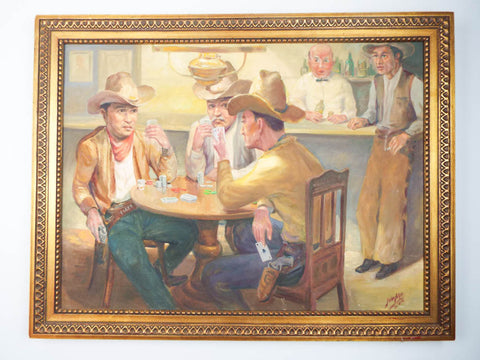 Signed Western Cowboy Oil on Canvas Painting ~ F Van Aken