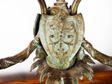 Antique 19th C Gilt Metal Figural Triple Candelabra Warriors Sword Helmet Shield