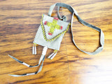 Vintage Western American Plains Indian Beaded Bag Satchel Small Purse 1970s
