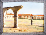 Antique South Western Oil On Board George Stanley 1905 Santa Fe NM Mission Art