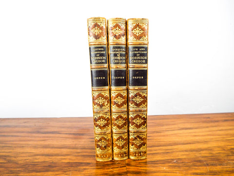 Constable Defoe 1925 Robinson Crusoe ~ Leather Bound 3 Volumes