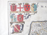 17th C Hand Color Map ~ Norfolk England ~ 1646 Jan Jannson Dutch
