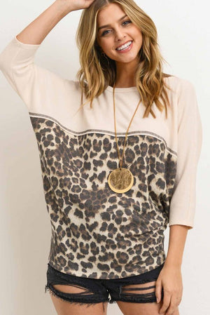 THERMAL, LEOPARD CONTRAST TOP, DOLMAN SLEEVES (ONLINE ONLY)