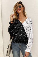 Color Block Polka dot Printed Blouse (WEBSITE ONLY)