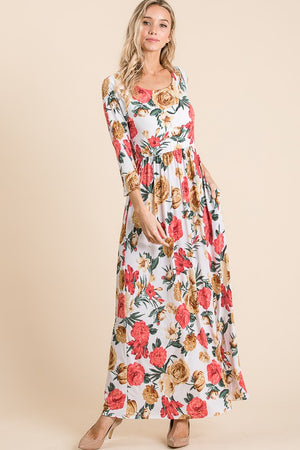 Three quarter sleeve round neck floral maxi dress (WEBSITE ONLY)