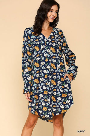 Floral Printed V-Neck Rounded Hem Dress with Long Roll Up Sleeves (WEBSITE ONLY)
