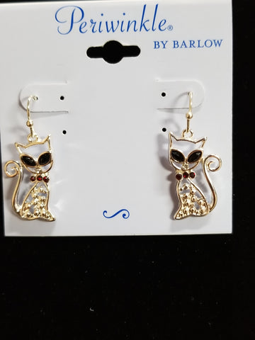 Cat Drop Earrings - Silver