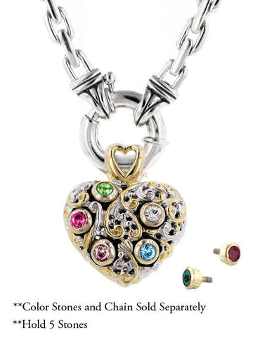 Celebration Interchangeable Stone Collection - Reversible Heart Pendant by John Medeiros Jewelry Collections.