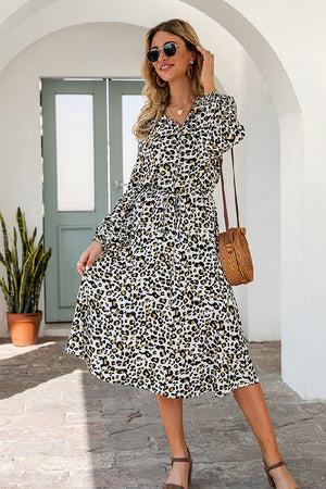 Spring Leopard printed drawstring dress. (AVAIL ONLINE ONLY)