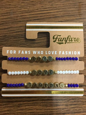 """Live"" ""Love"" ""Gameday"" Three Bracelet set"