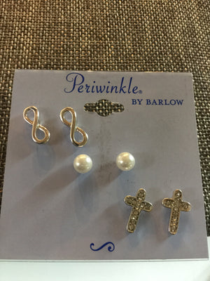 Three Piece Stud Earring Set-Cross & Infinity