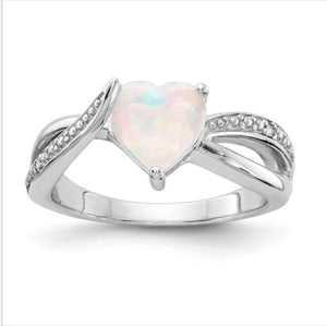 Sterling Silver Heart Shaped CR Opal And Diamond Ring