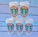 GLITTER - Personalized Starbucks reusable plastic travel mug, 16oz, high quality vinyl decal, handwash only