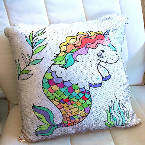 Sequin Pillow - Hippo, Unicorn, Mermaid