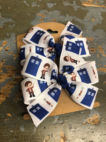 Dr Who, ribbon hair clip set of 2,  RTS