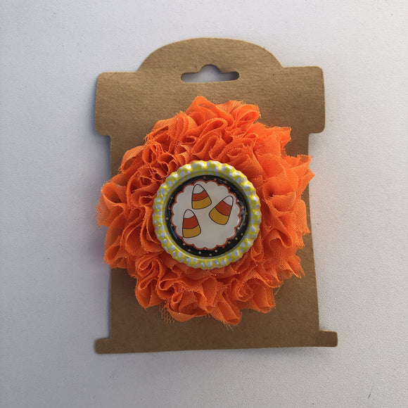 Candy Corn, flower hair clip,  RTS