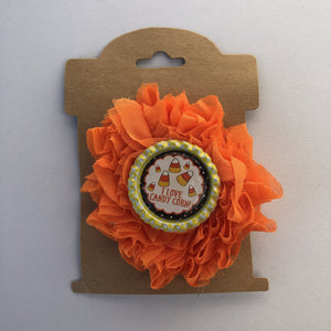 Love candy corn, flower hair clip,  RTS