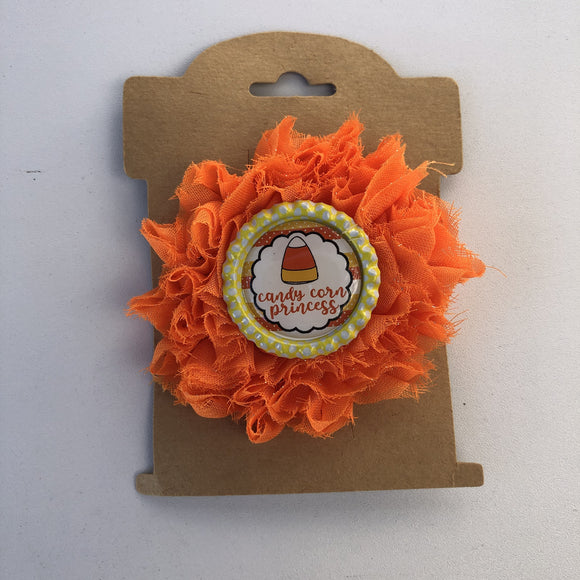 Candy corn princess, flower hair clip,  RTS