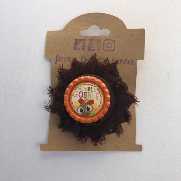 Gobble gobble, flower hair clip,  RTS