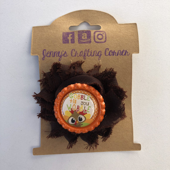 Gobble til you wobble, flower hair clip,  RTS