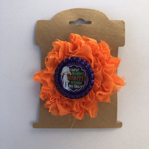 Mummy, flower hair clip,  RTS