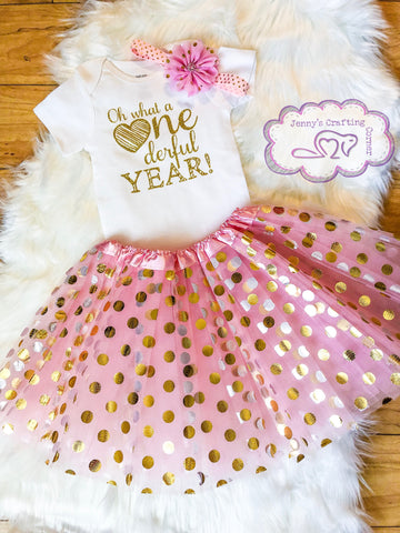 1st birthday outfit, pink and gold, RTS