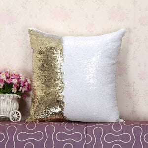 Sequin Pillow - water color wreath design with last name.