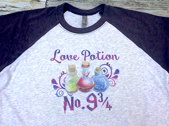 Love potion no. 9 3/4 raglan adult top