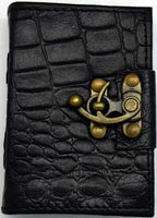 Black Python Leather Covered Journal with Latch