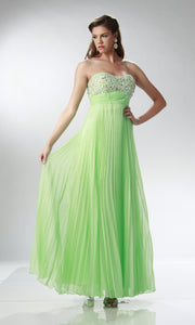 Mint Flowy Pleated Dress - Concepcion Bridal & Quinceañera Boutique