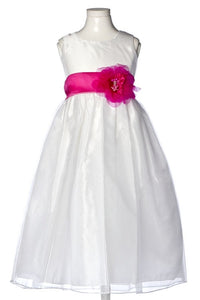 Flower and Sash Organza Dress - Concepcion Bridal & Quinceañera Boutique