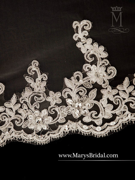 "100"" Long Rhinestone & Lace Veil - Concepcion Bridal & Quinceañera Boutique"